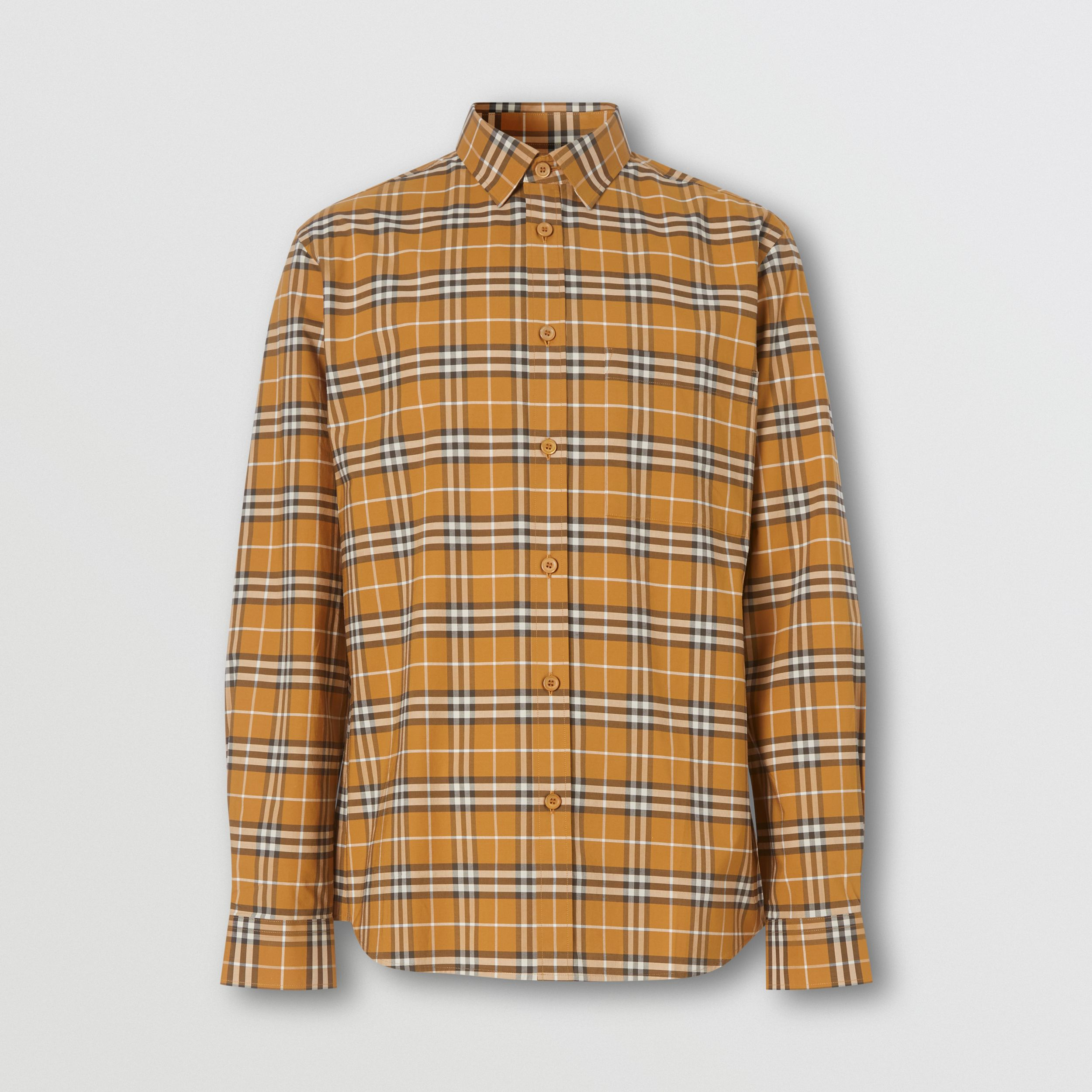 Small Scale Check Stretch Cotton Shirt in Bright Toffee - Men | Burberry - 4