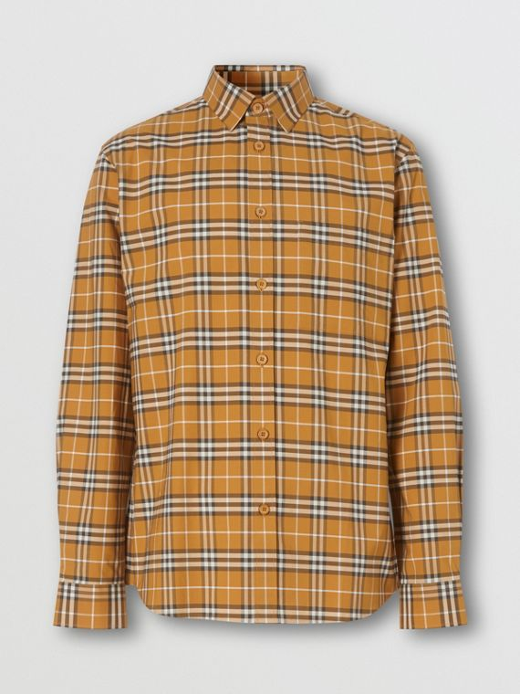 Small Scale Check Stretch Cotton Shirt in Bright Toffee