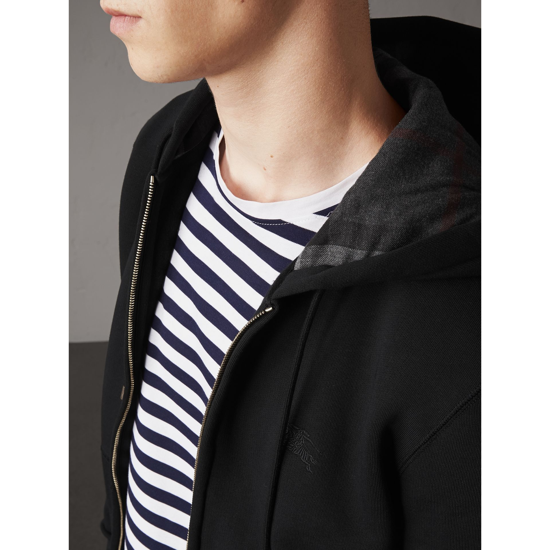 Hooded Cotton Jersey Top in Black - Men | Burberry Hong Kong - gallery image 2
