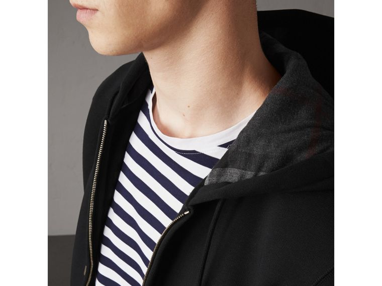 Hooded Cotton Jersey Top in Black - Men | Burberry Hong Kong - cell image 1