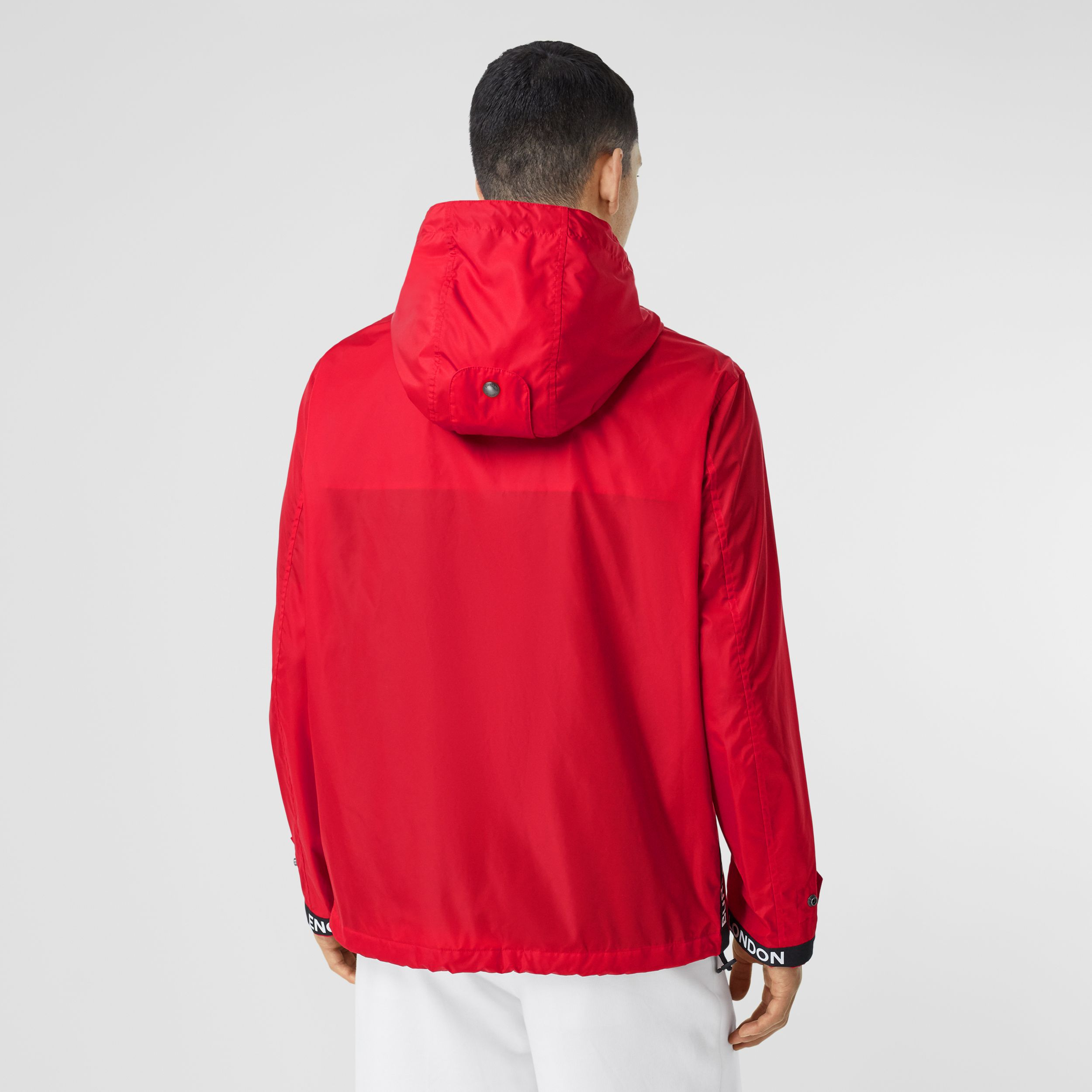 Logo Tape ECONYL® Hooded Jacket in Bright Red - Men | Burberry - 3