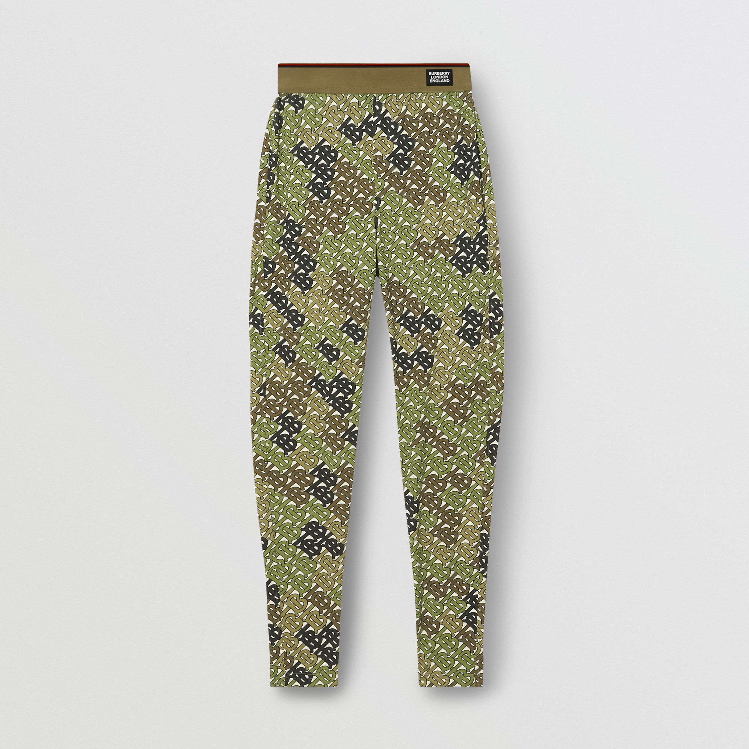 Monogram Print Stretch Jersey Leggings in Khaki Green - Women | Burberry - 4