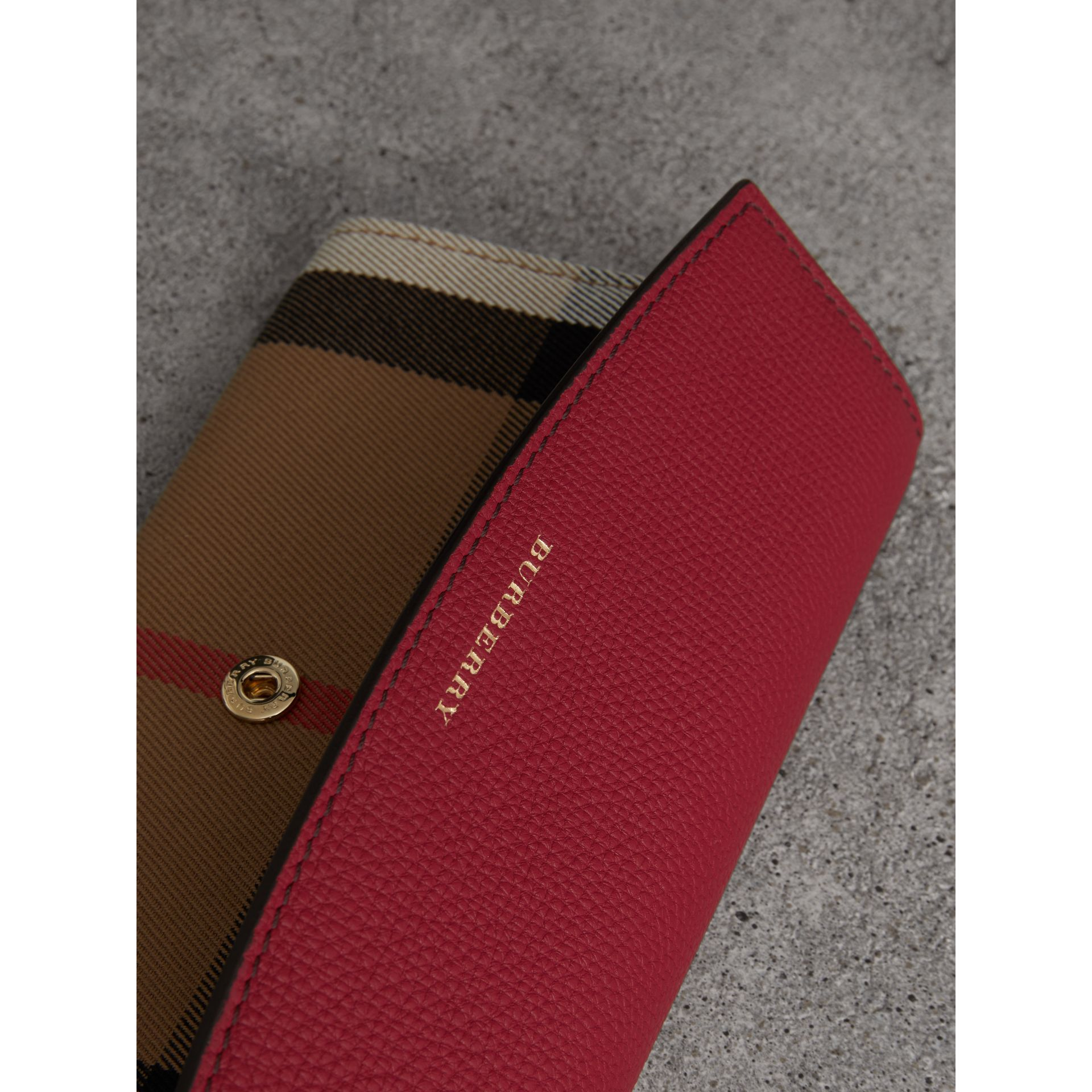 House Check and Leather Continental Wallet in Russet Red - Women | Burberry United Kingdom - gallery image 1
