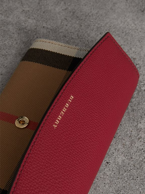 House Check and Leather Continental Wallet in Russet Red - Women | Burberry United Kingdom - cell image 1