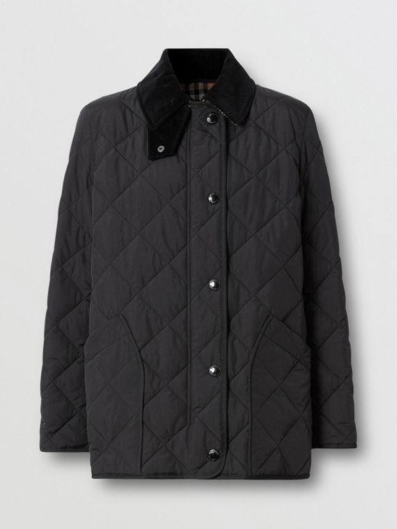 Diamond Quilted Thermoregulated Barn Jacket in Black