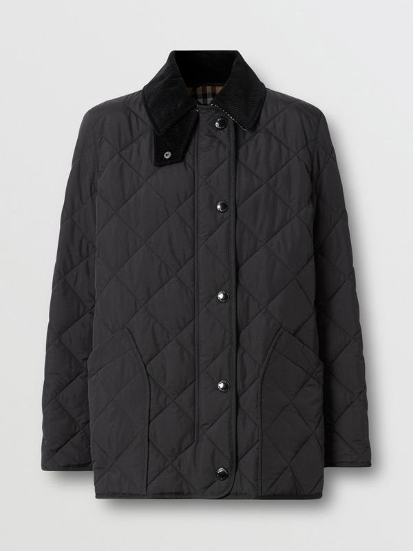 Diamond Quilted Thermoregulated Barn Jacket in Black - Women | Burberry United Kingdom - cell image 3