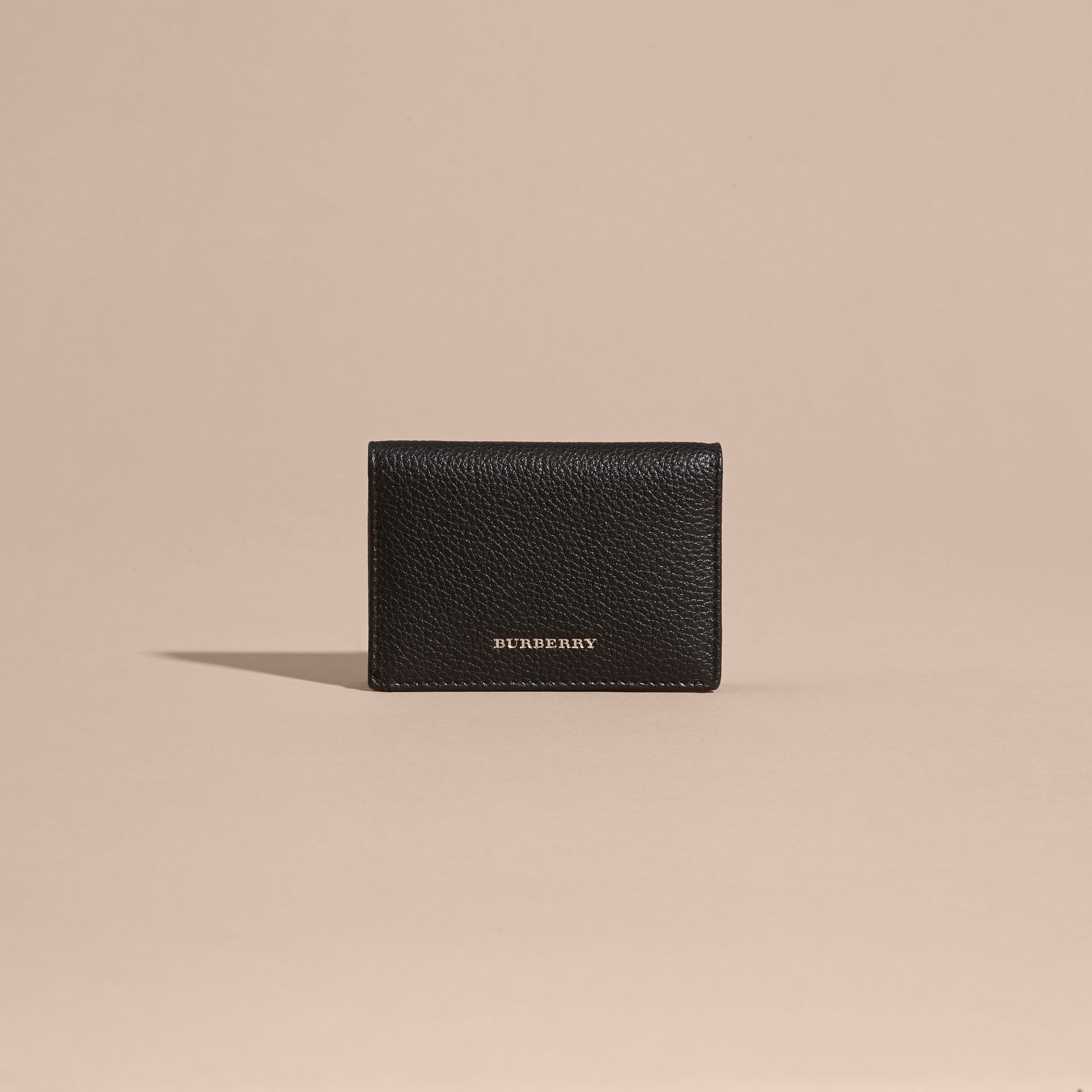Black Grainy Leather Card Holder - gallery image 6