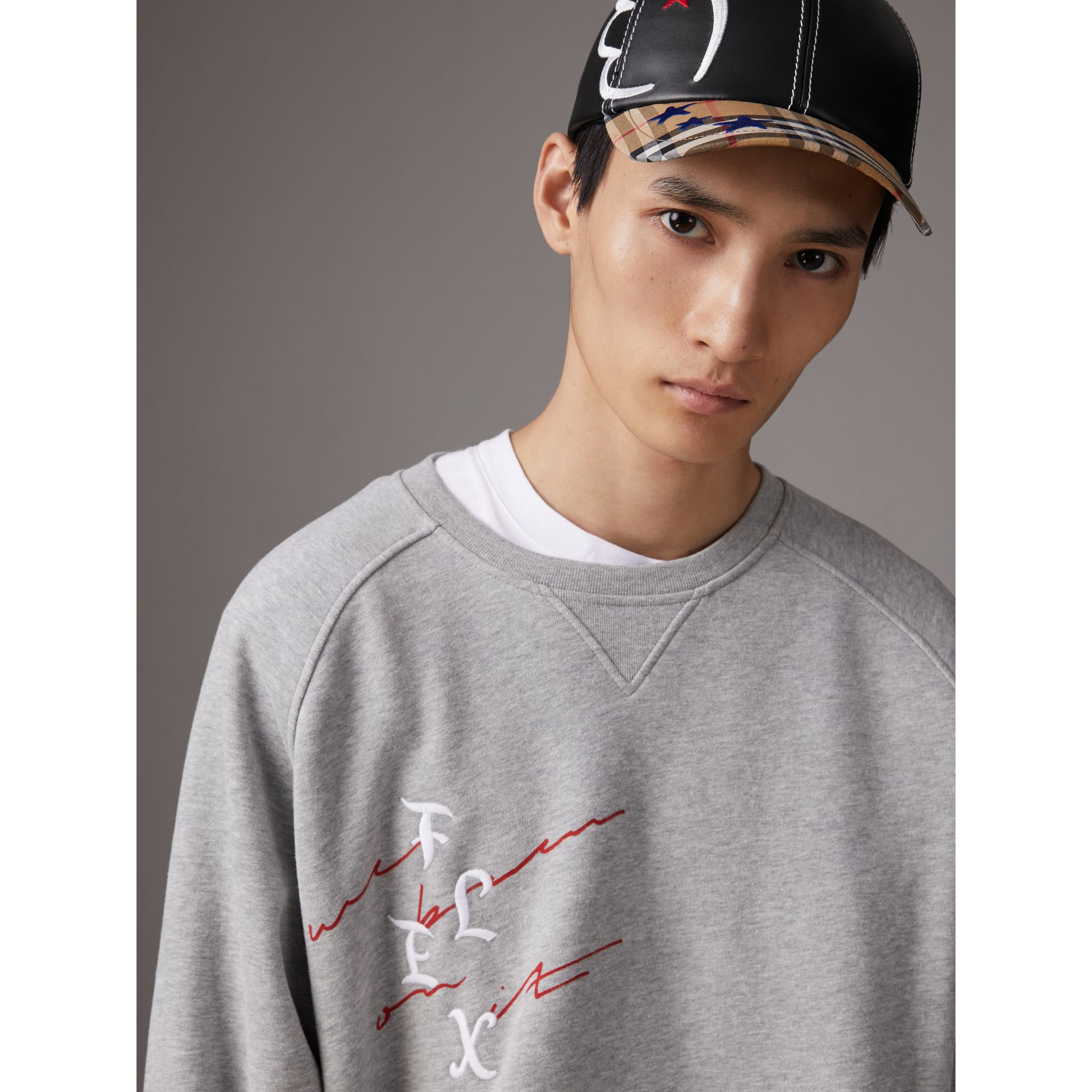 Burberry x Kris Wu Graphic Motif Sweatshirt in Pale Grey Melange - Men | Burberry United States - gallery image 1