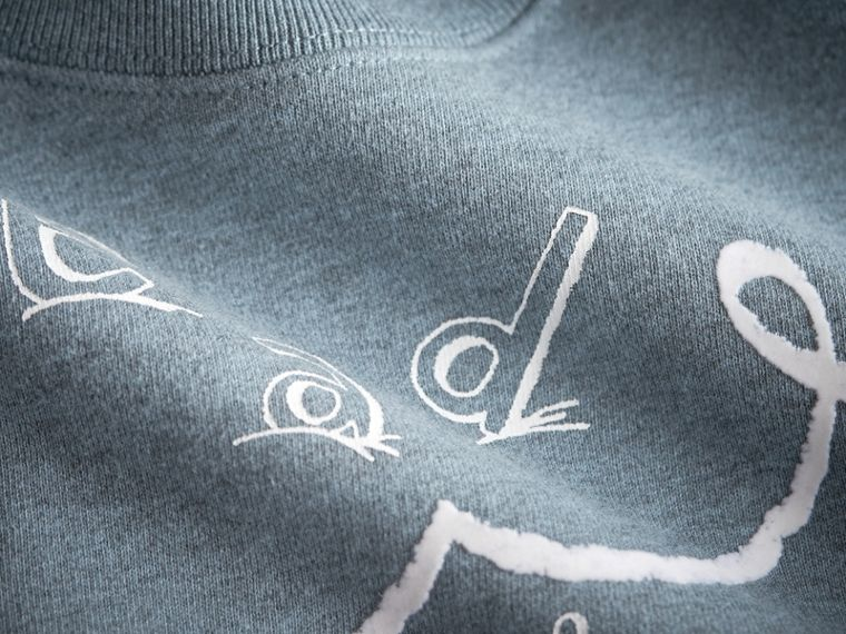 Head in the Clouds Print Cotton Sweatshirt in Powder Blue | Burberry - cell image 1