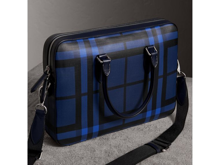Medium Leather Trim London Check Briefcase in Bright Lapis - Men | Burberry Australia - cell image 4