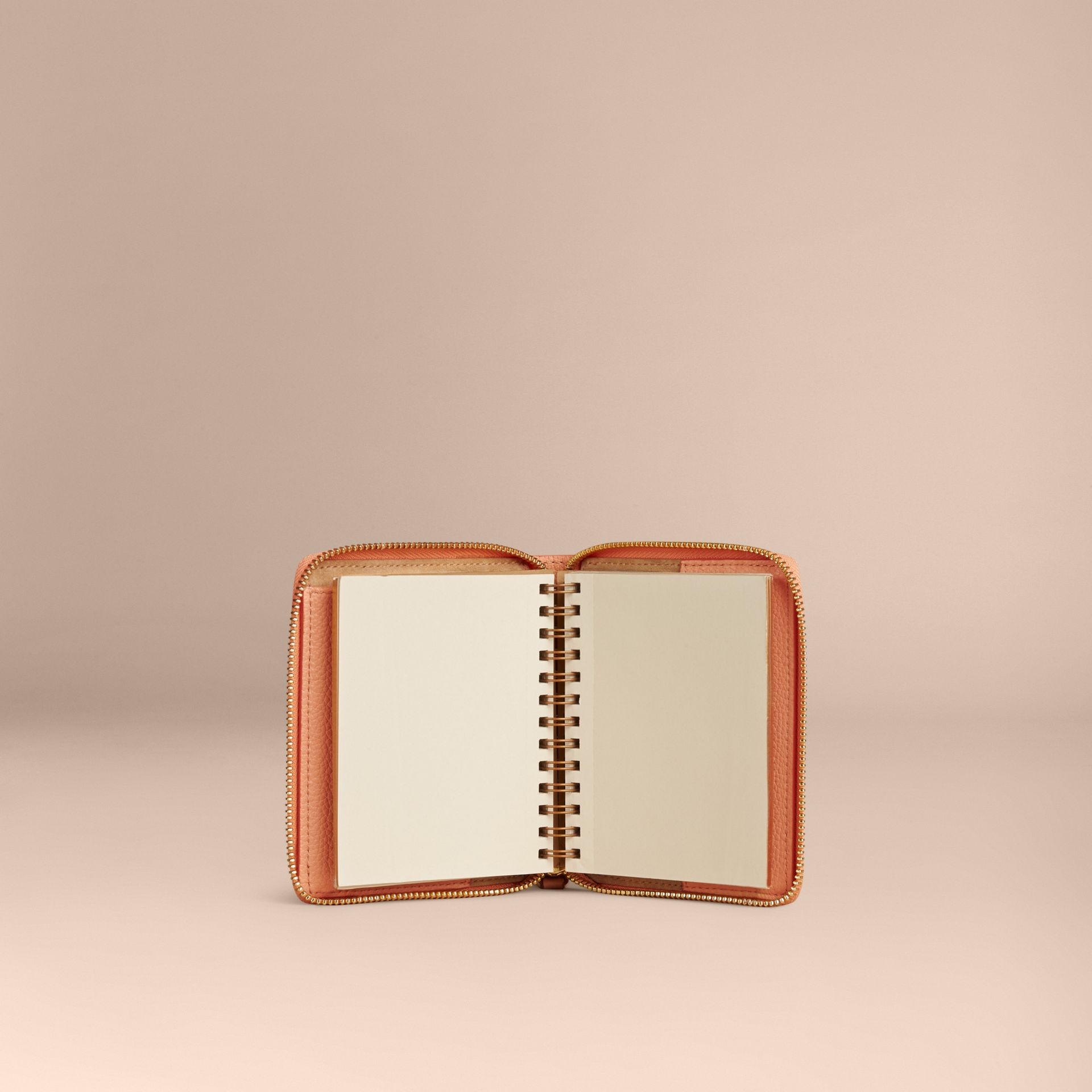 Pink apricot Ziparound Embossed Check Grainy Leather Mini Notebook Pink Apricot - gallery image 5