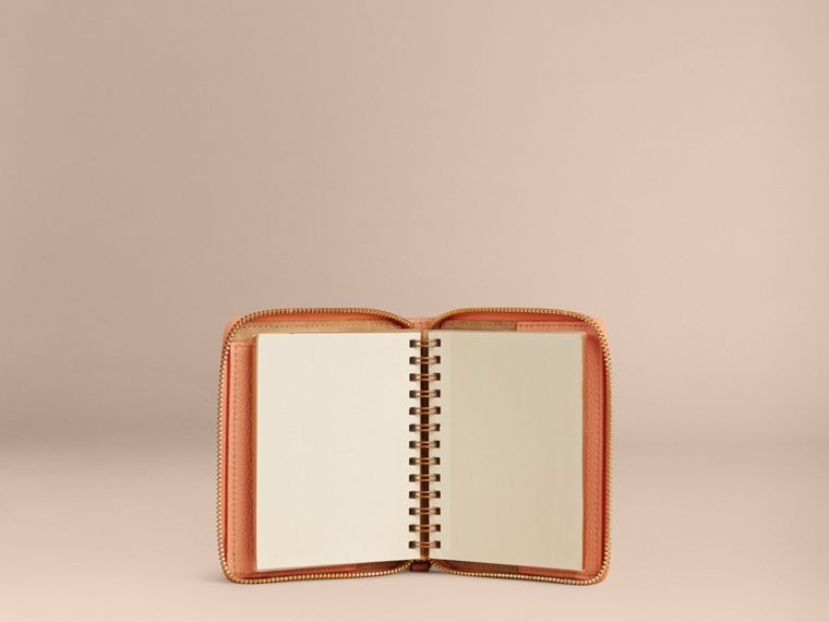 Pink apricot Ziparound Embossed Check Grainy Leather Mini Notebook Pink Apricot - cell image 4