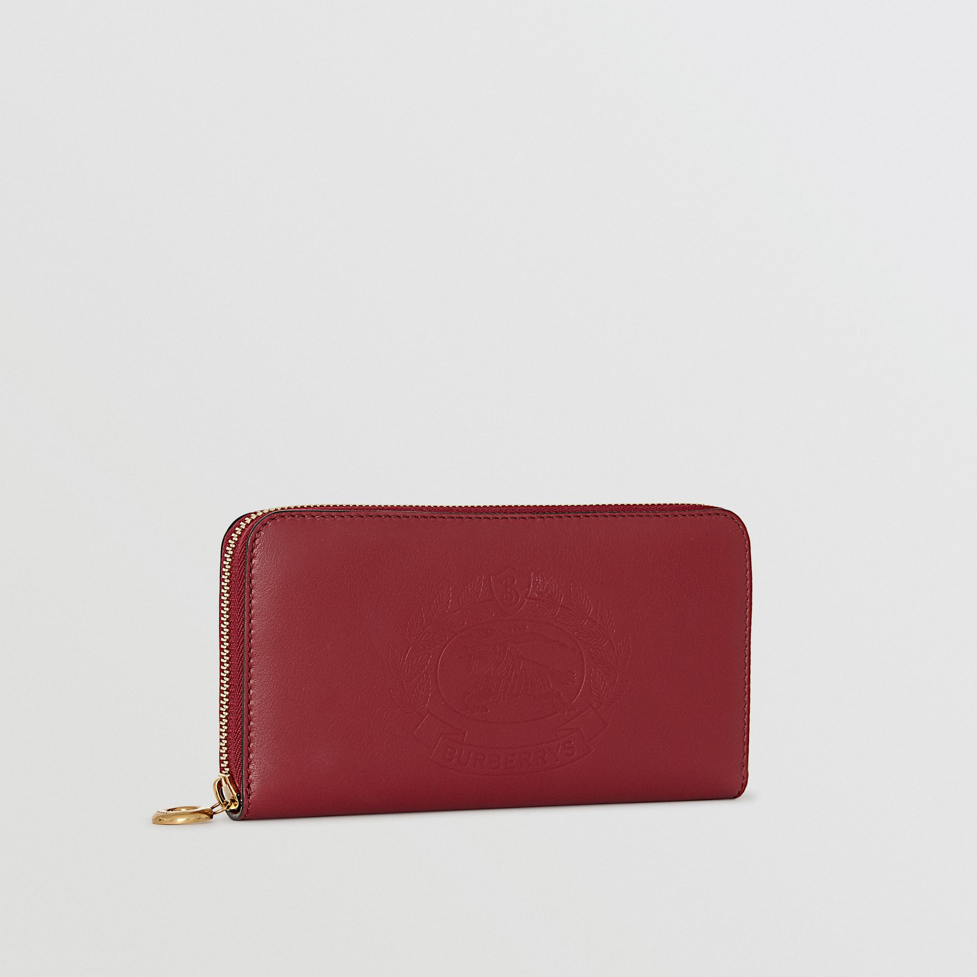 Embossed Crest Two-tone Leather Ziparound Wallet in Crimson - Women | Burberry Canada - gallery image 3