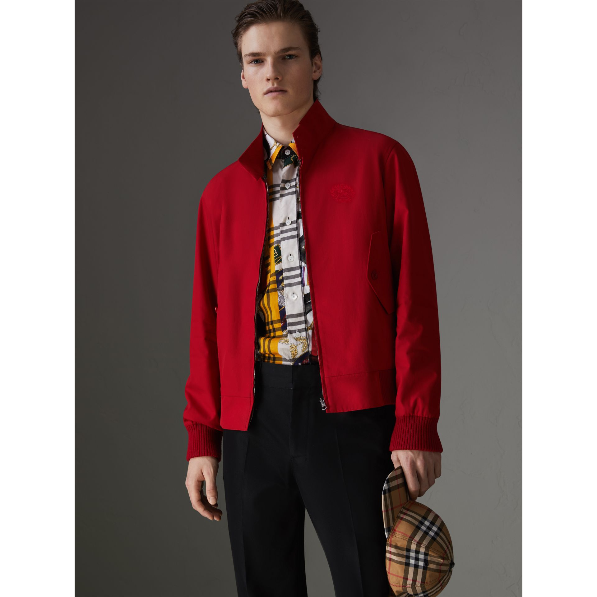 Slim Fit Tropical Gabardine Harrington Jacket in Bright Red - Men | Burberry - gallery image 6