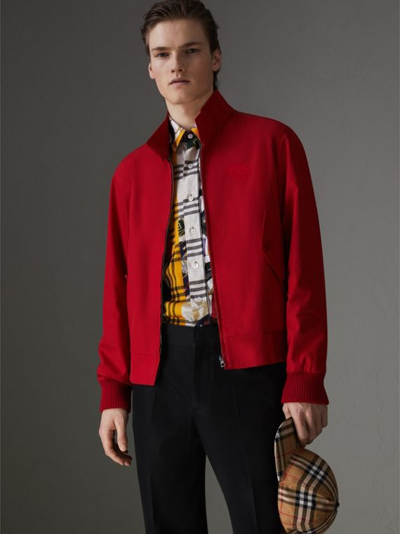 Slim Fit Tropical Gabardine Harrington Jacket in Bright Red