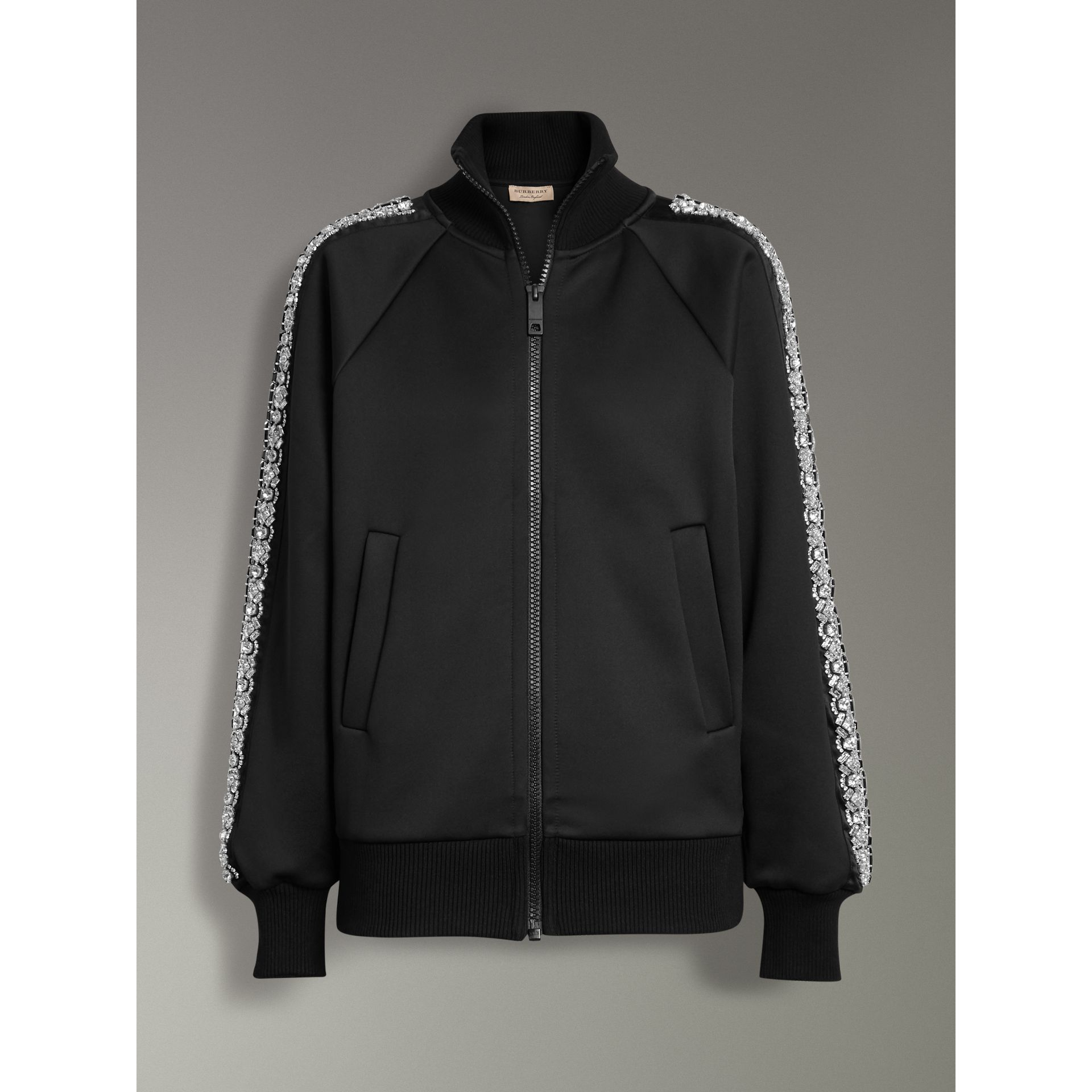 Crystal Detail Jersey Tracksuit Jacket in Black - Women | Burberry - gallery image 3