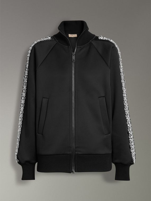 Crystal Detail Jersey Tracksuit Jacket in Black - Women | Burberry - cell image 3