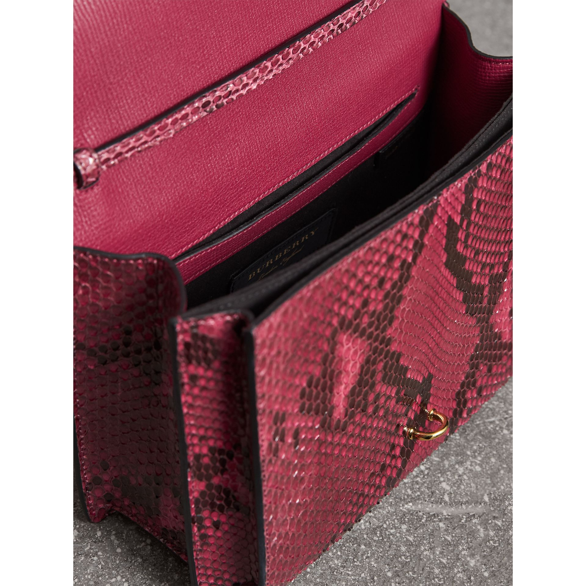 Small Python Crossbody Bag in Claret Pink - Women | Burberry - gallery image 5
