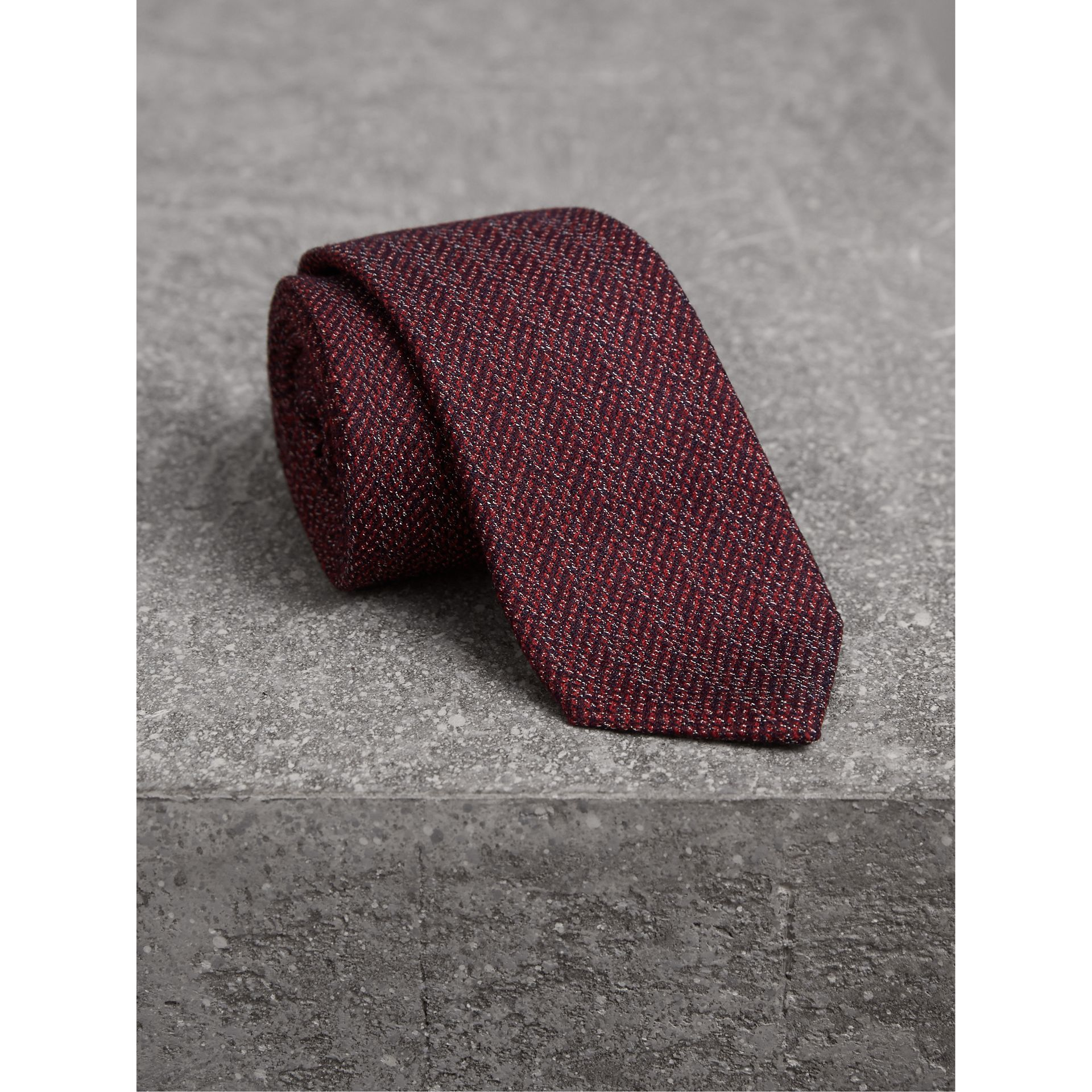 Slim Cut Flecked Silk Tie in Crimson Pink - Men | Burberry - gallery image 1
