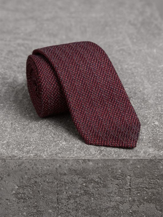 Slim Cut Flecked Silk Tie in Crimson Pink - Men | Burberry