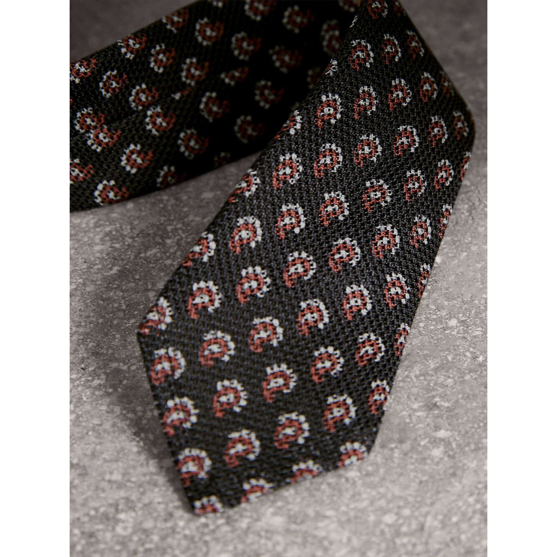 Slim Cut Paisley Silk Tie in Mid Grey - Men | Burberry - gallery image 1
