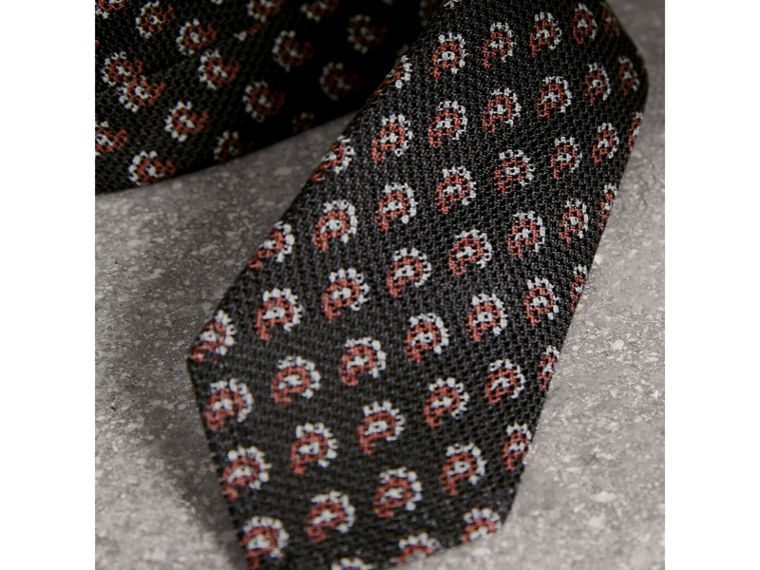 Slim Cut Paisley Silk Tie in Mid Grey - Men | Burberry - cell image 1