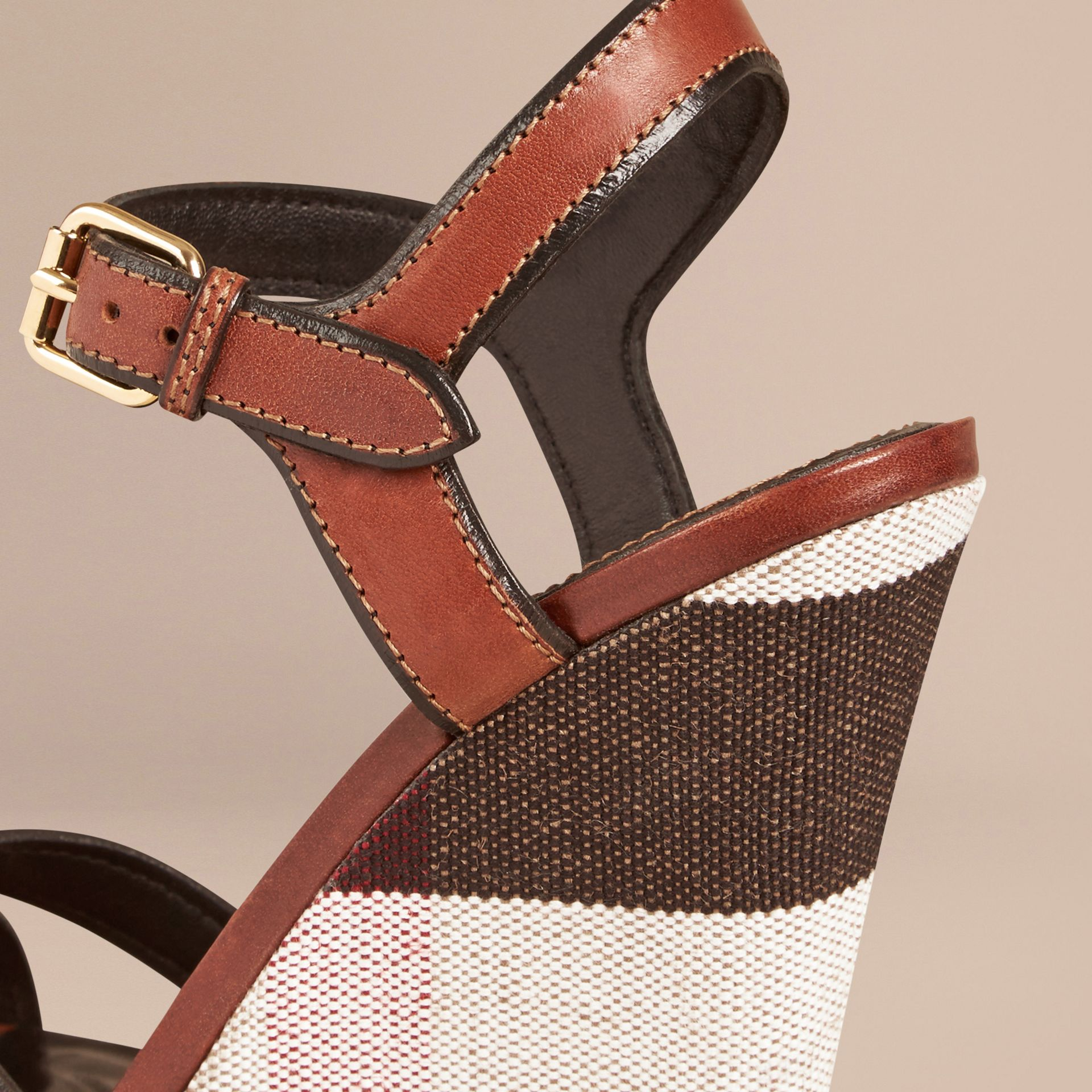 Dark umber brown Canvas Check Leather Platform Wedges Dark Umber Brown - gallery image 5