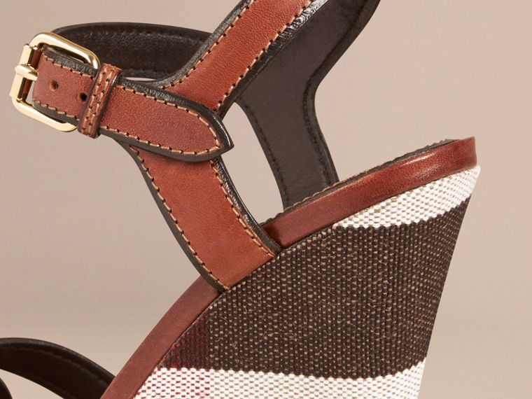 Dark umber brown Canvas Check Leather Platform Wedges Dark Umber Brown - cell image 4
