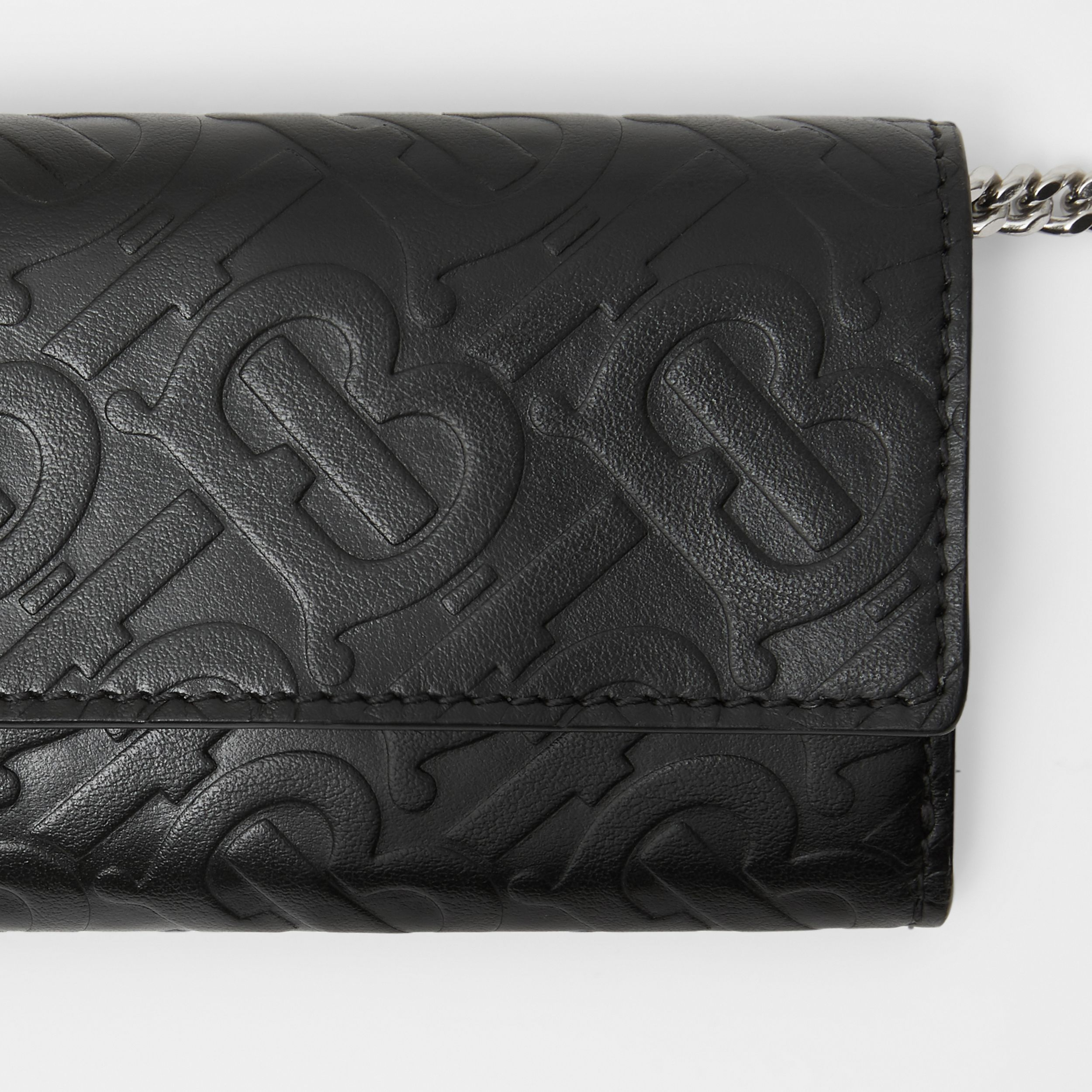 Small Monogram Leather Wallet with Detachable Strap in Black | Burberry - 2