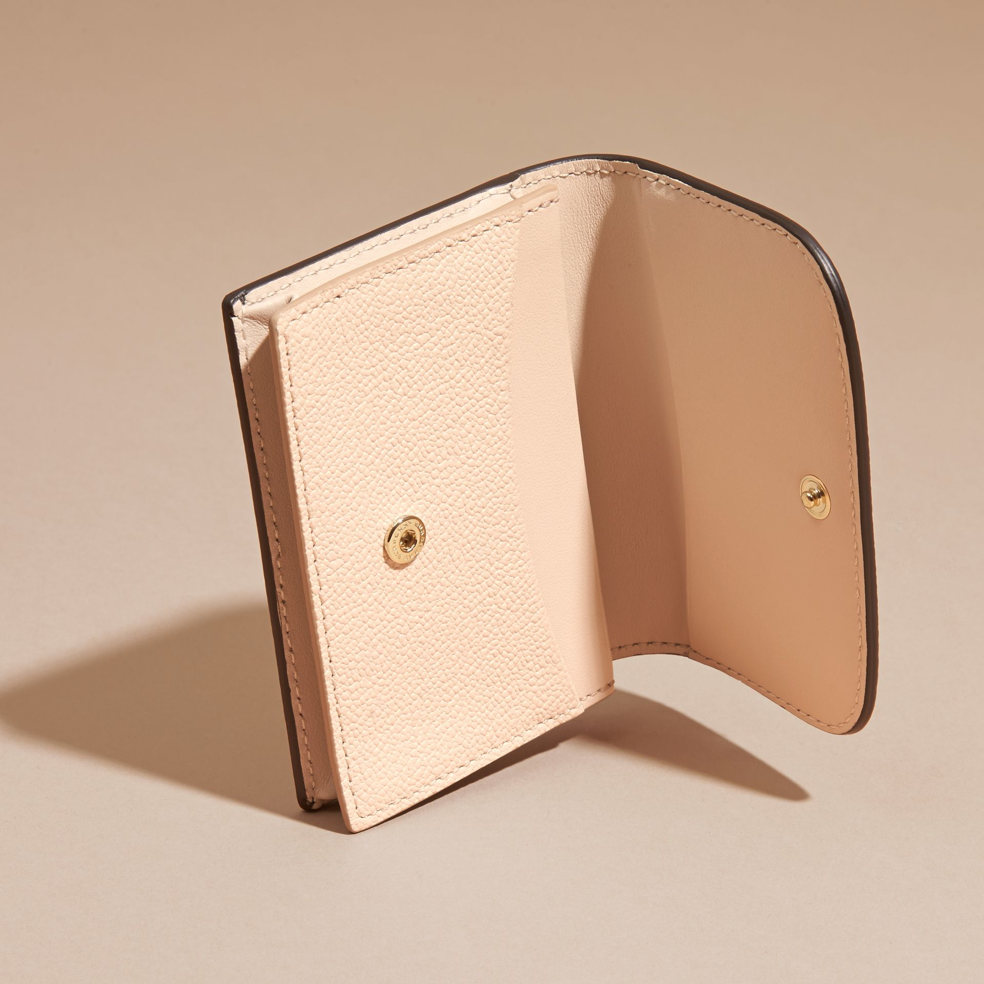 Grainy Leather Card Case in Limestone - Women | Burberry - gallery image 5