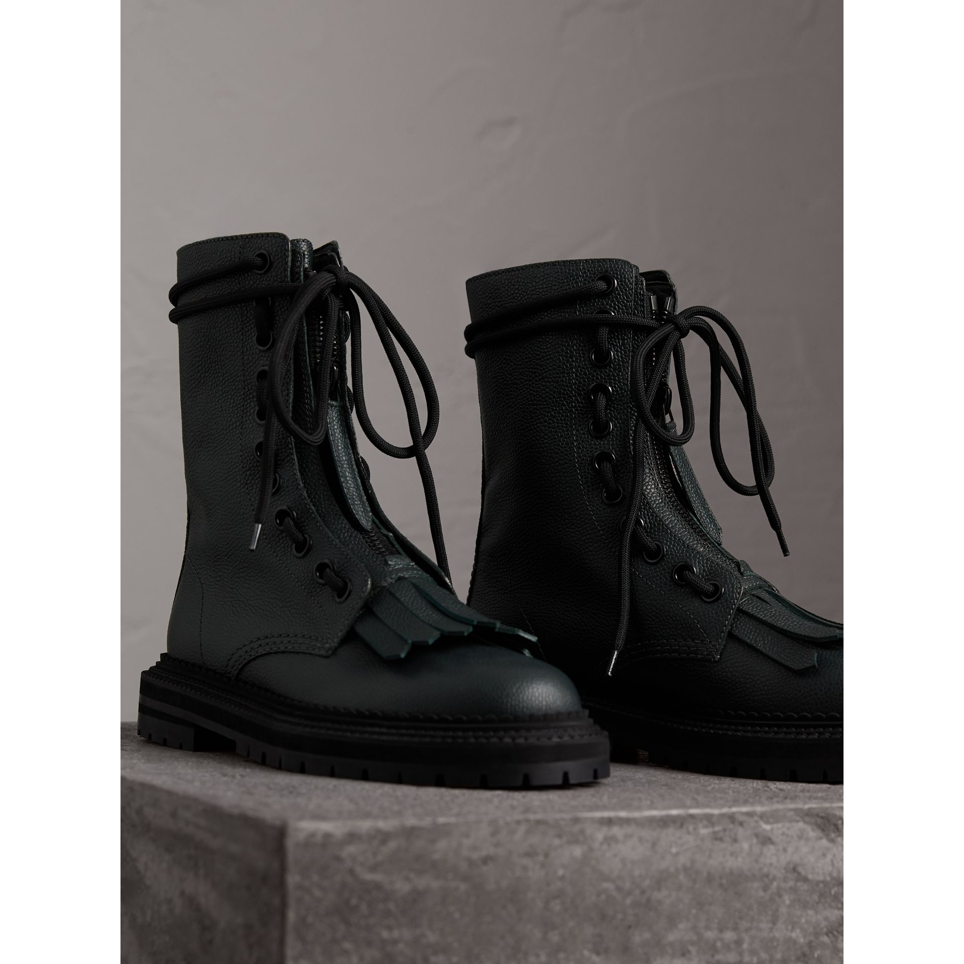 Fringe Detail Grainy Leather Military Boots in Deep Viridian Green - Women | Burberry United Kingdom - gallery image 3