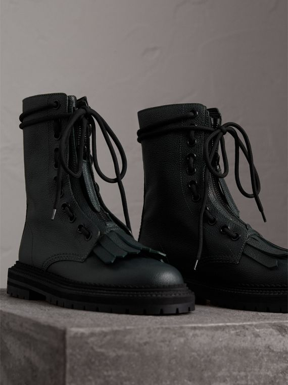 Fringe Detail Grainy Leather Military Boots in Deep Viridian Green - Women | Burberry - cell image 3