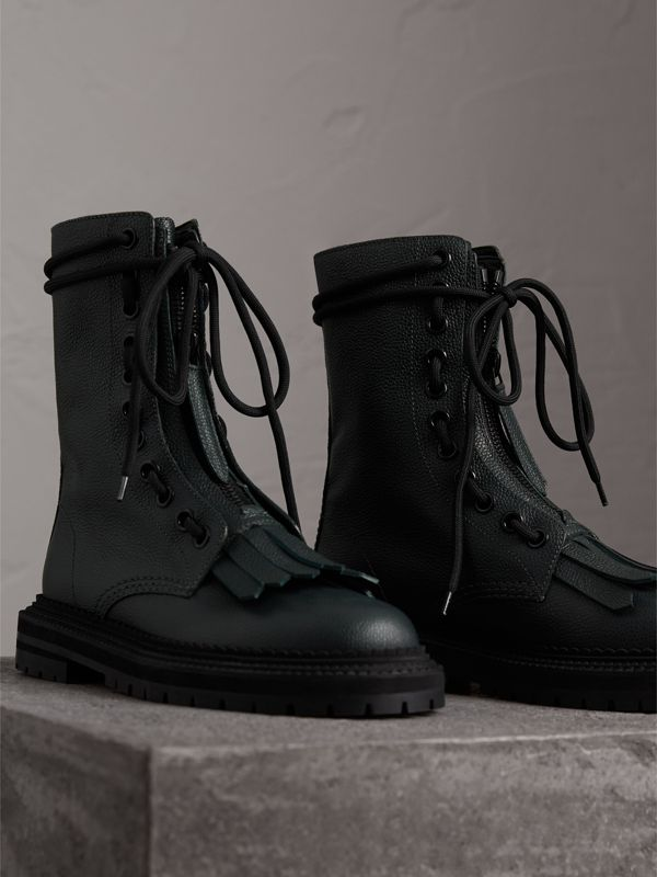 Fringe Detail Grainy Leather Military Boots in Deep Viridian Green - Women | Burberry United Kingdom - cell image 3