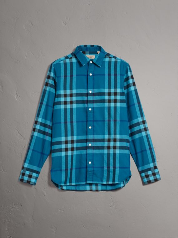 Check Cotton Flannel Shirt in Peridot Blue - Men | Burberry Canada - cell image 3