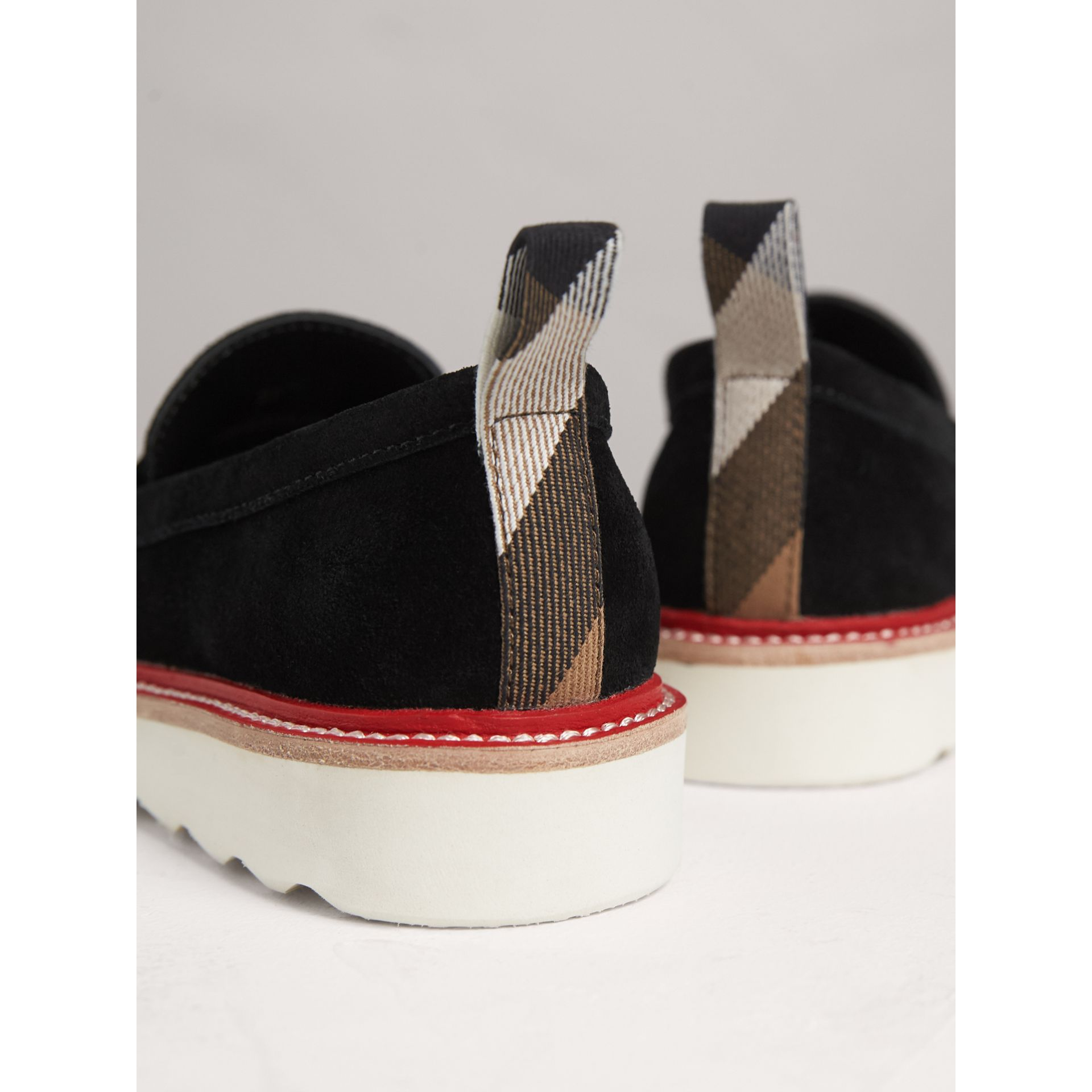 Mocassins Penny Loafers en cuir velours bicolore (Noir) | Burberry - photo de la galerie 3