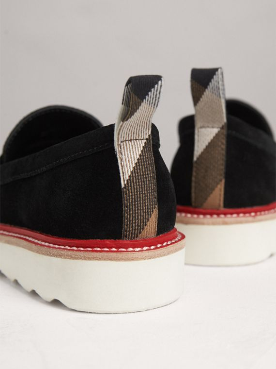 Two-tone Suede Penny Loafers in Black - Girl | Burberry Australia - cell image 2