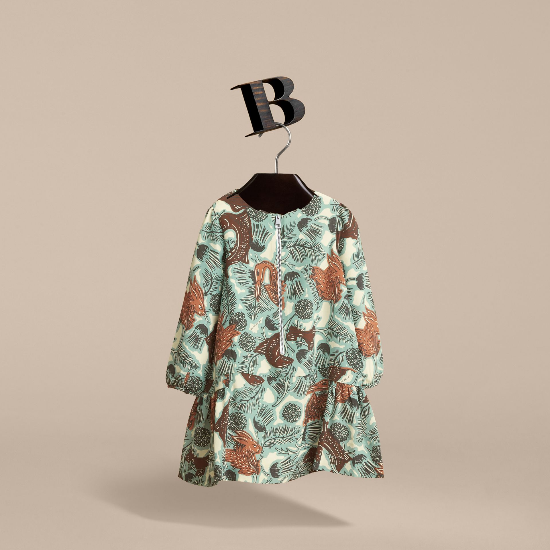 Beasts Print Silk Dropped-waist Dress in Pale Celadon - Girl | Burberry - gallery image 2