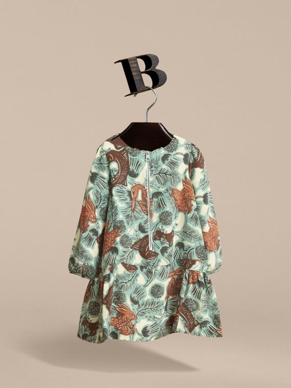 Beasts Print Silk Dropped-waist Dress in Pale Celadon - Girl | Burberry - cell image 2