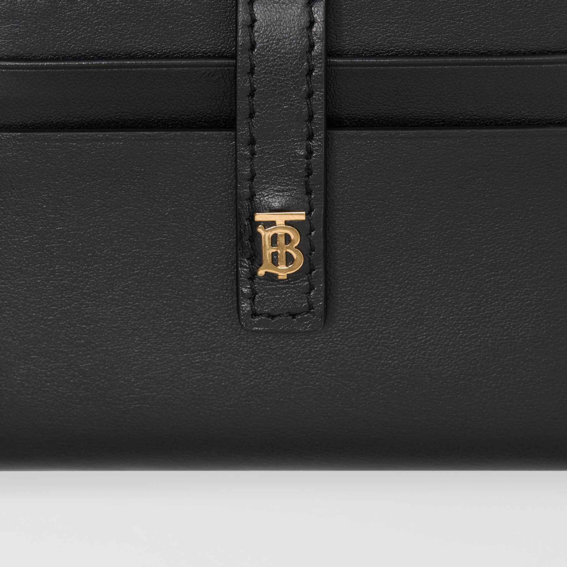 Monogram Motif Leather Folding Card Case in Black - Women | Burberry - gallery image 1