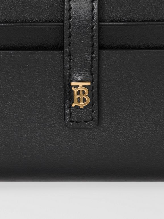 Monogram Motif Leather Folding Card Case in Black - Women | Burberry - cell image 1