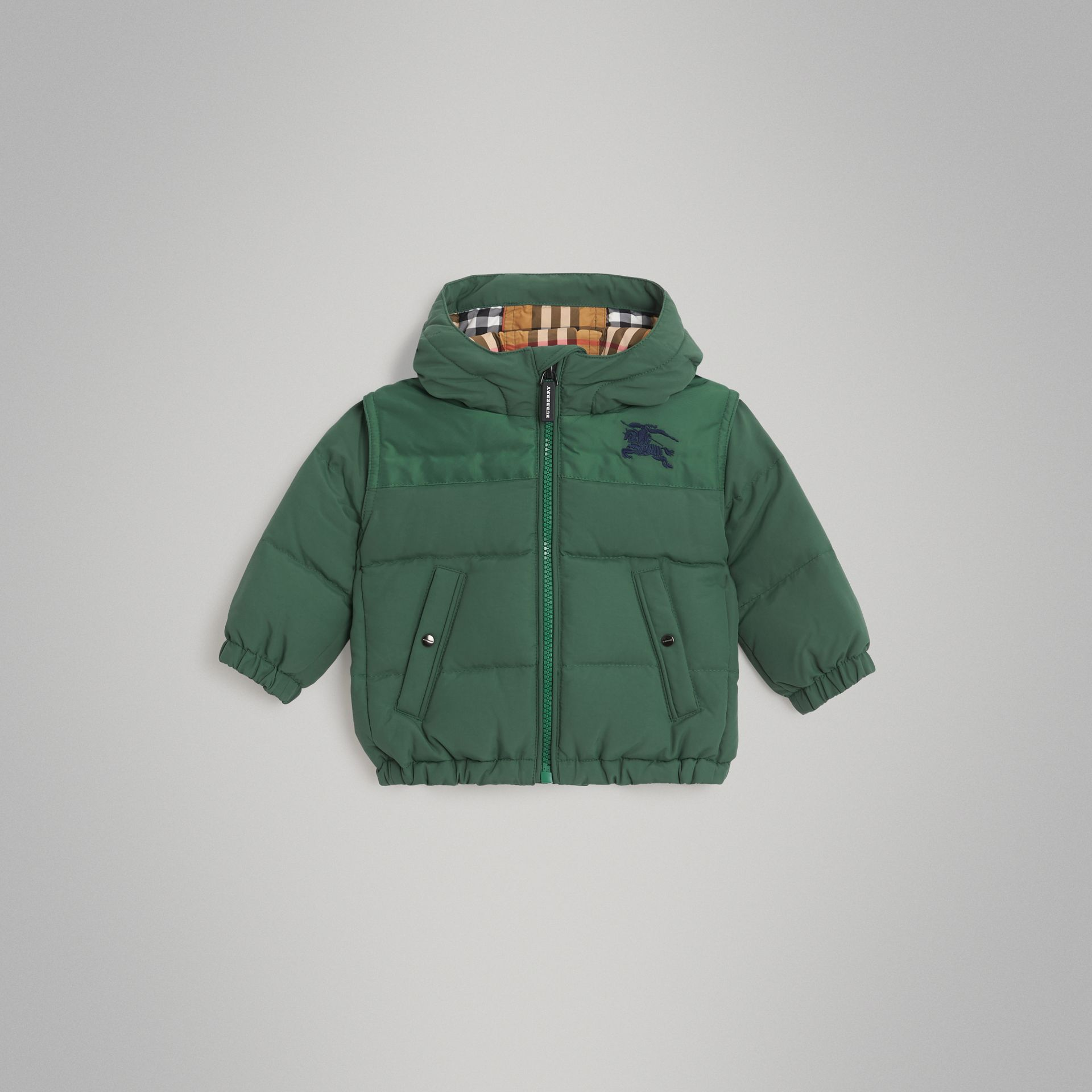 Down-filled Hooded Puffer Jacket in Veridian Green - Children | Burberry United Kingdom - gallery image 0