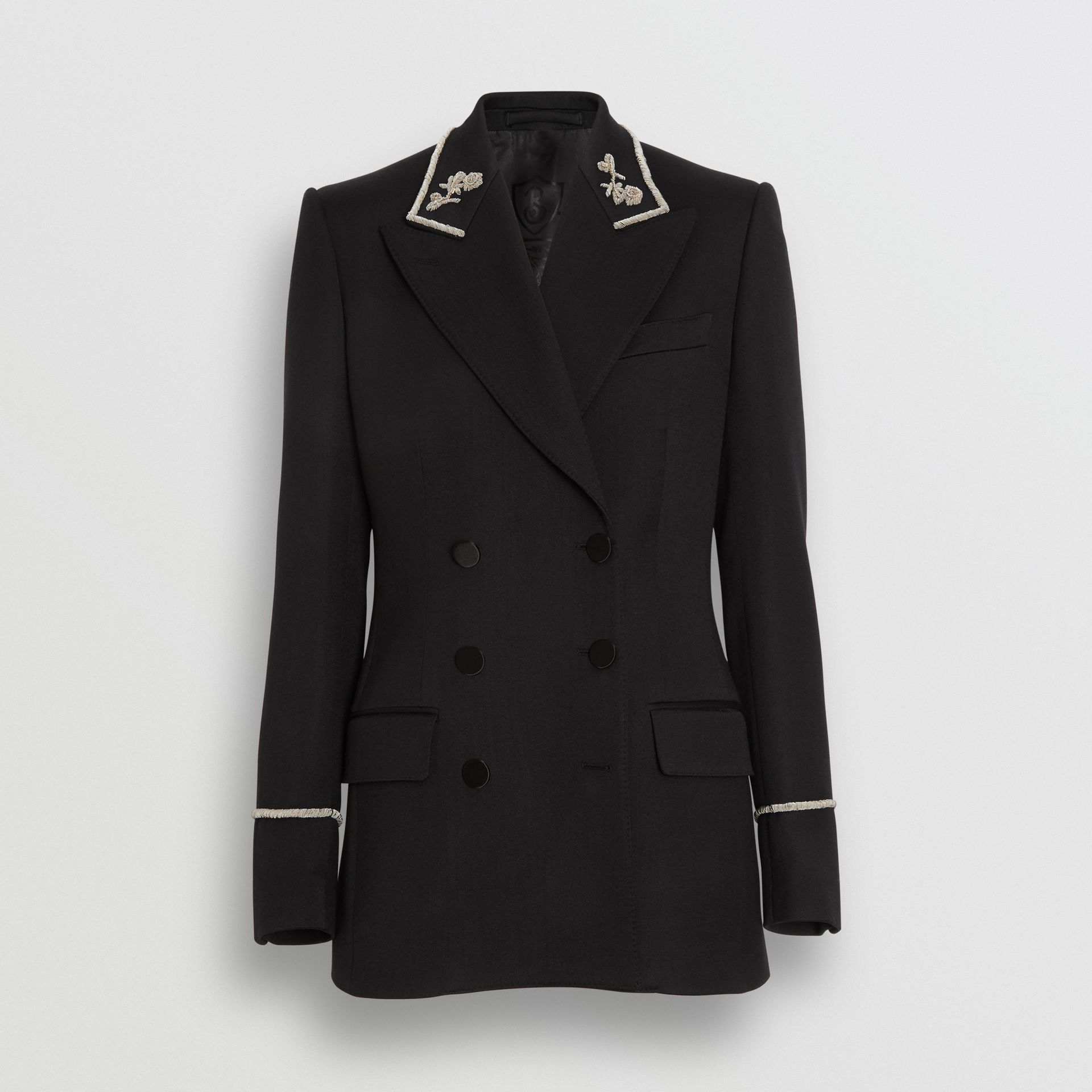 Bullion Stretch Wool Double-breasted Jacket in Black - Women | Burberry - gallery image 3