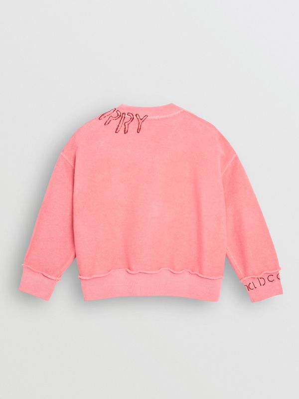 Stencil Logo Print Cotton Sweatshirt in Bright Pink | Burberry United Kingdom - cell image 3