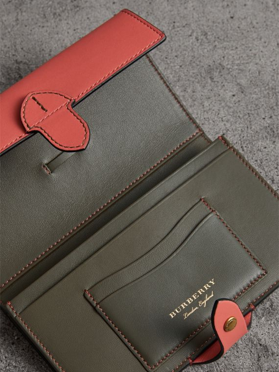 Equestrian Shield Two-tone Leather Continental Wallet in Peony Pink - Women | Burberry - cell image 3