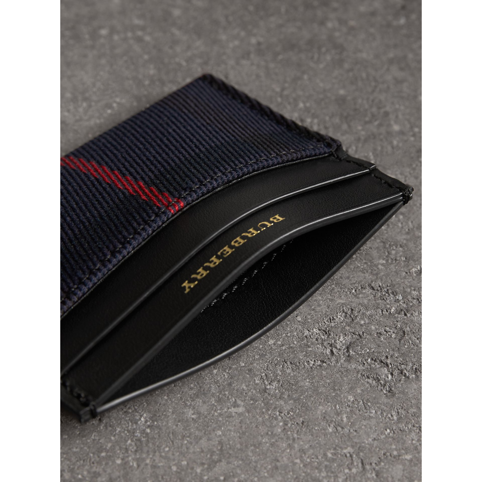 Tartan Check and Leather Card Case in Deep Navy/black | Burberry Canada - gallery image 3