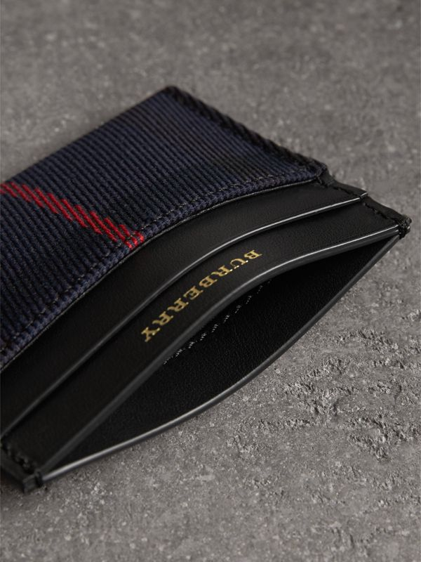 Tartan Check and Leather Card Case in Deep Navy/black | Burberry - cell image 3