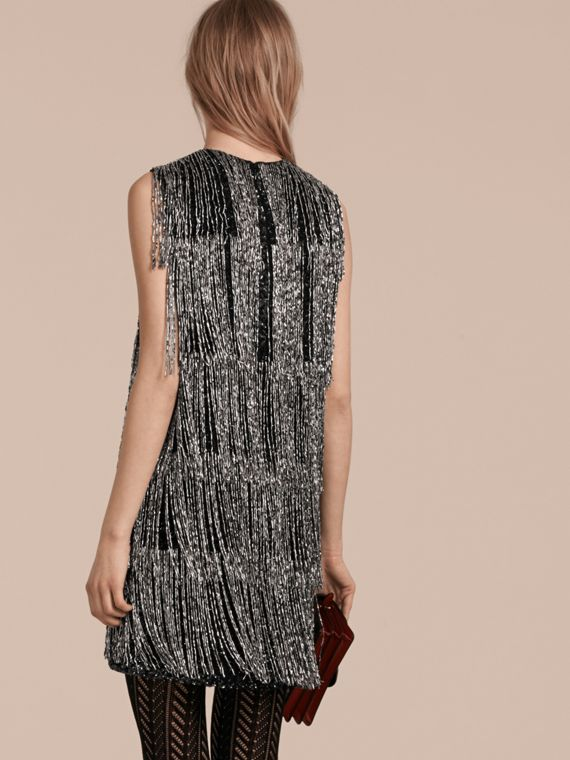 Silver Bead-fringed Silk Dress - cell image 2