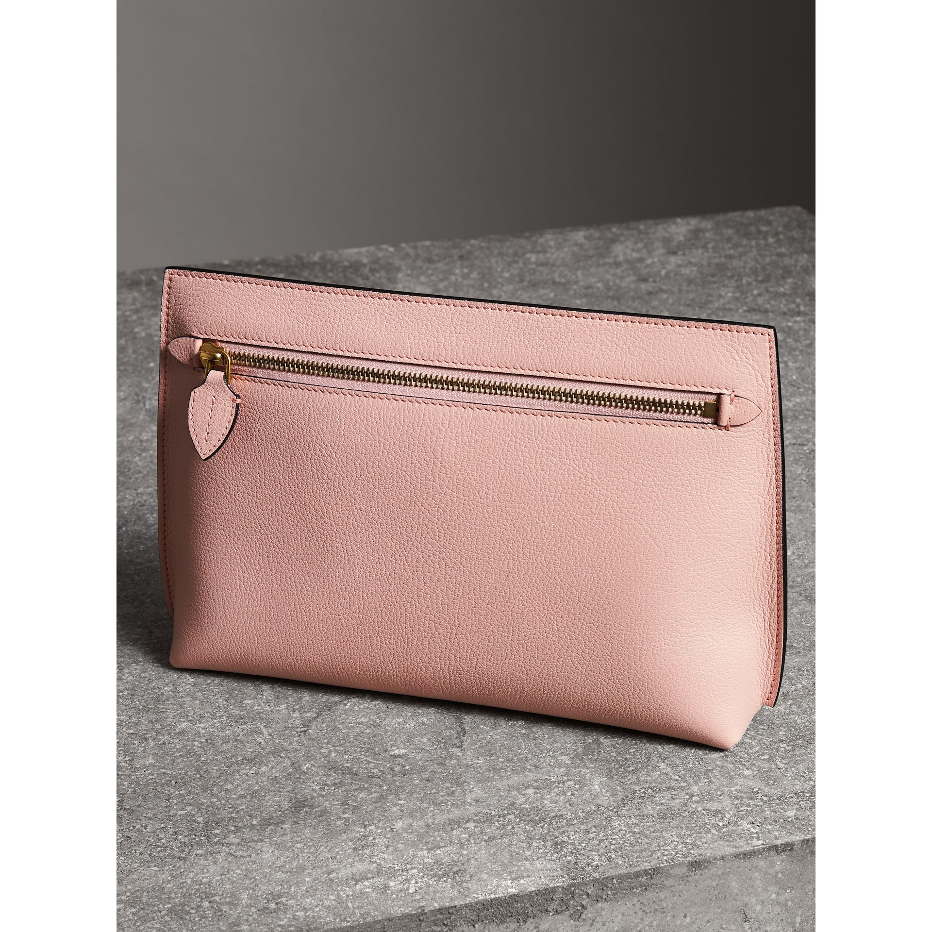 Grainy Leather Wristlet Clutch in Pale Ash Rose - Women | Burberry - gallery image 4