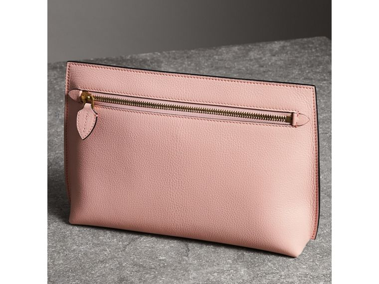 Grainy Leather Wristlet Clutch in Pale Ash Rose - Women | Burberry - cell image 4