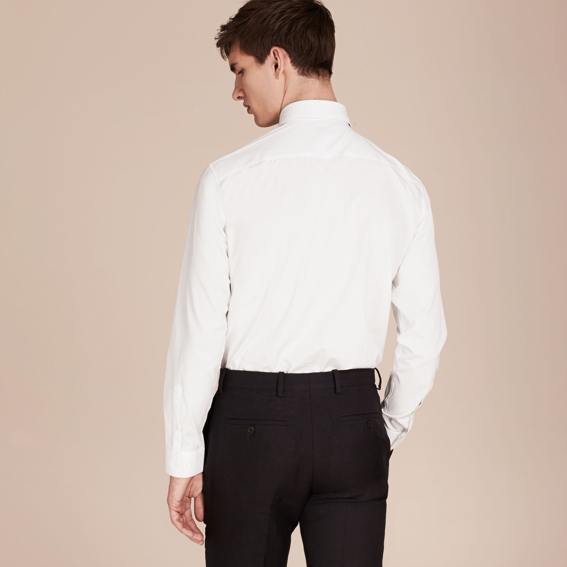 Modern Fit Cotton Poplin Shirt in White - gallery image 3